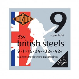 Rotosound British Steels BS9, Stainless Steel Electric Guitar Strings 9-42