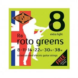 Rotosound R8 Greens String Set Electric Nickel Wound 8-38