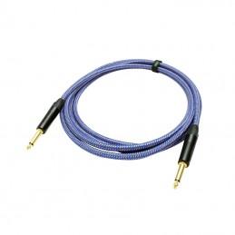Custom Lynx Braided Neutrik Guitar Cable 3m, Blue Braided