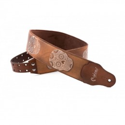 Sugar Woody Leather Guitar Strap Skulls RightOn